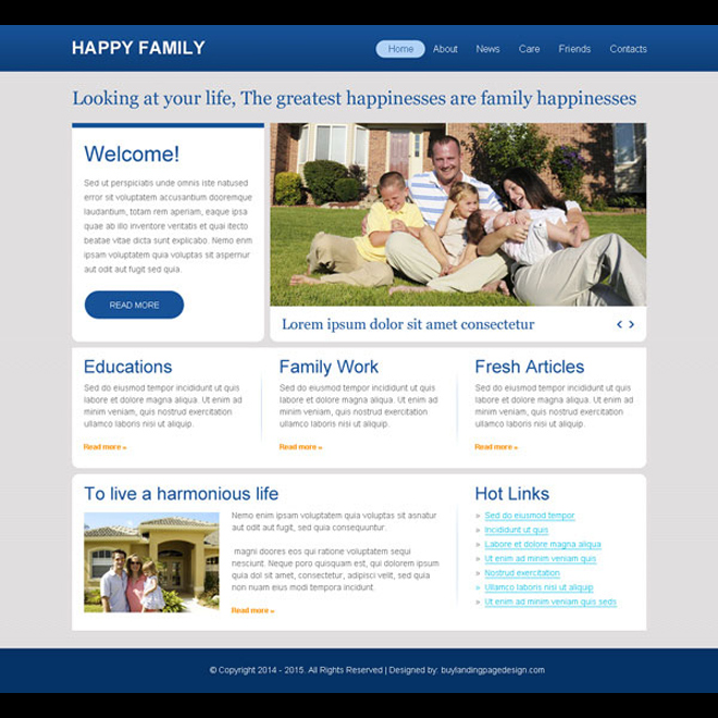 clean and minimal happy family call to action website template design psd Website Template PSD example