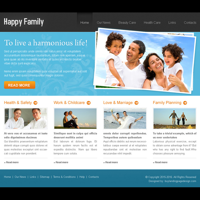 happy family online website template design psd Website Template PSD example