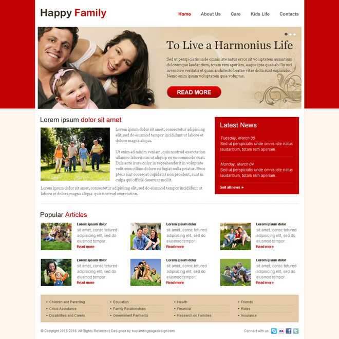 attractive happy family website template design psd Website Template PSD example