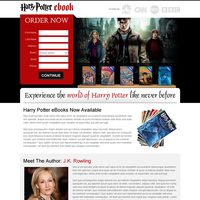 harry potter ebook lead generation appealing and attractive landing page design Ebook example