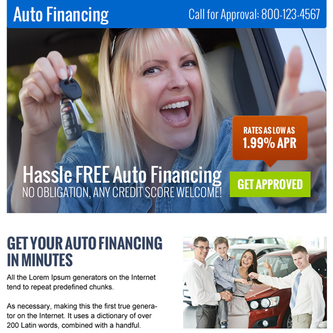 hassle free auto financing call to action ppv landing page Auto Finance example