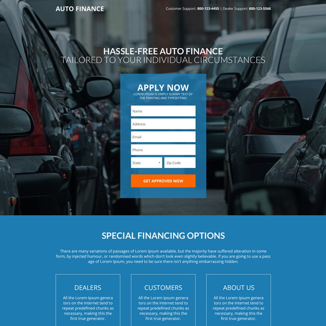 hassle free auto financing lead generating landing page design Auto Financing example