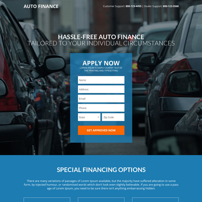 hassle free auto financing responsive landing page Auto Financing example