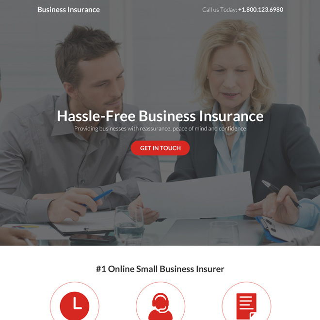 hassle free business insurance responsive landing page Business Insurance example