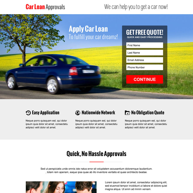 hassle free car loan approval lead capture converting responsive landing page design template Loan example