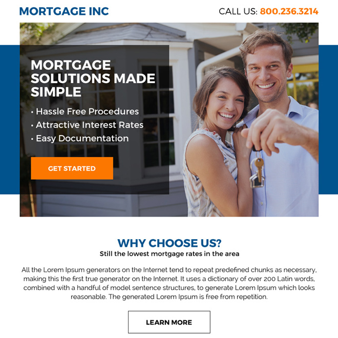 mortgage solutions clean ppv landing page design Mortgage example