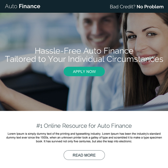 hassle free online auto finance pay per click landing page Auto Financing example