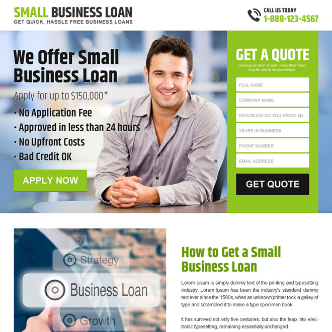 hassle free small business loan lead capturing landing page design Business Loan example