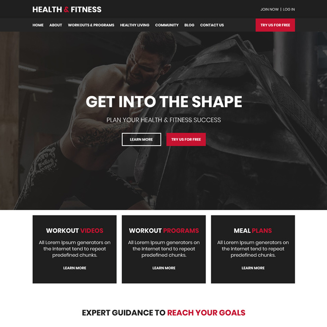 health and fitness programs responsive website design Health and Fitness example