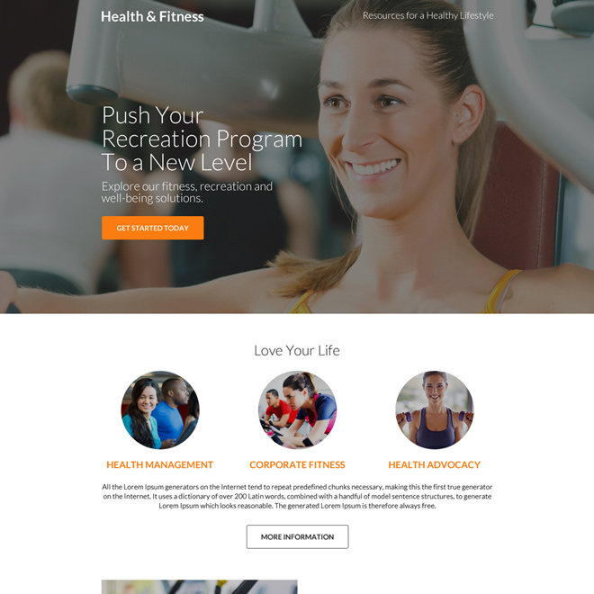 professional health and fitness call to action landing page design Health and Fitness example