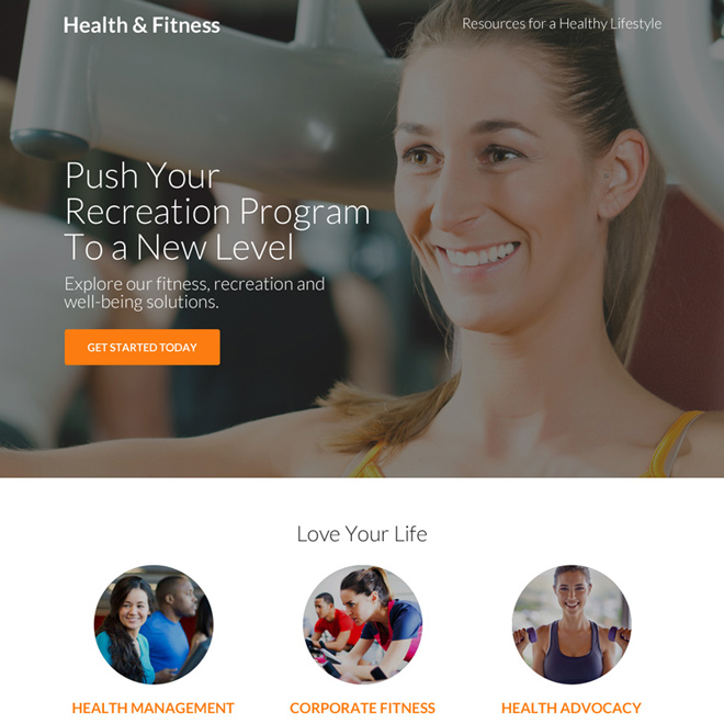 responsive health and fitness clean landing page design Health and Fitness example