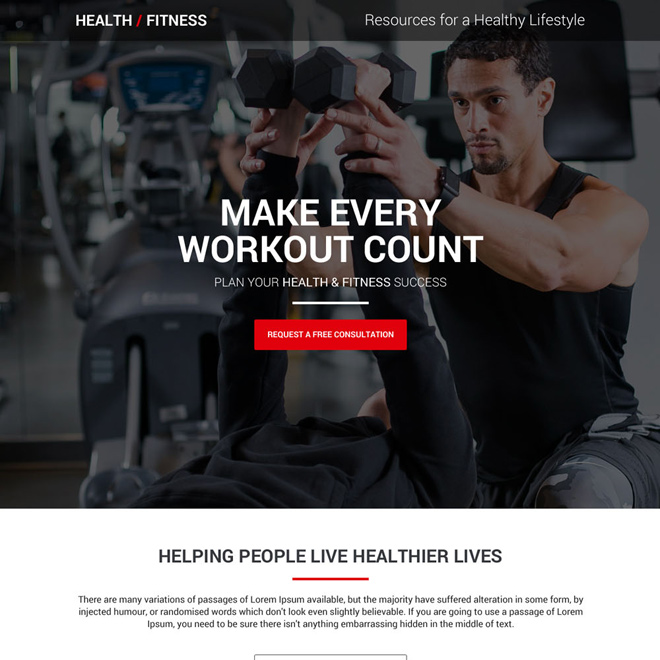 health and fitness free consultation lead capturing landing page Health and Fitness example