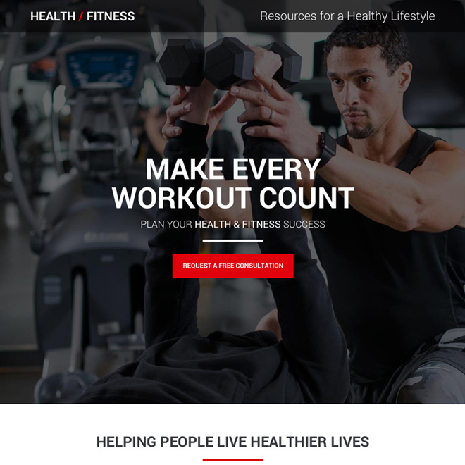 health and fitness consultation responsive landing page Health and Fitness example