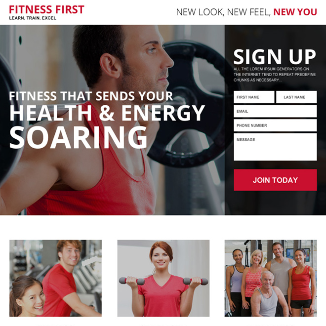health and fitness best responsive landing page Health and Fitness example