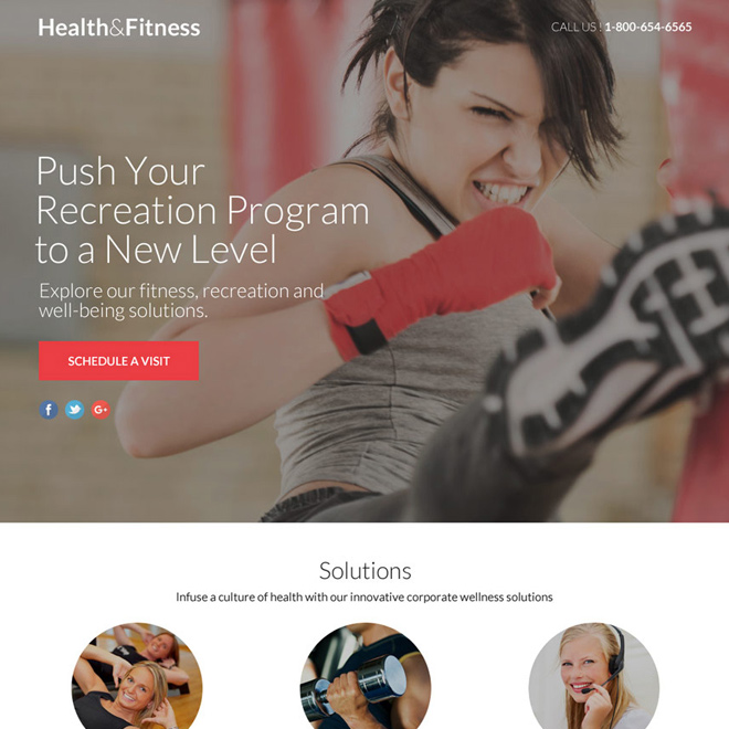 responsive health and fitness lead funnel landing page Health and Fitness example