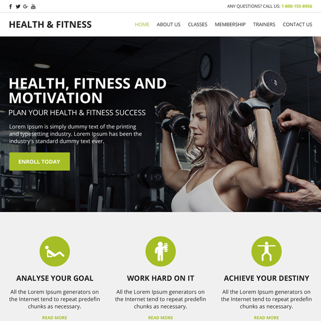 responsive health and fitness website template Health and Fitness example