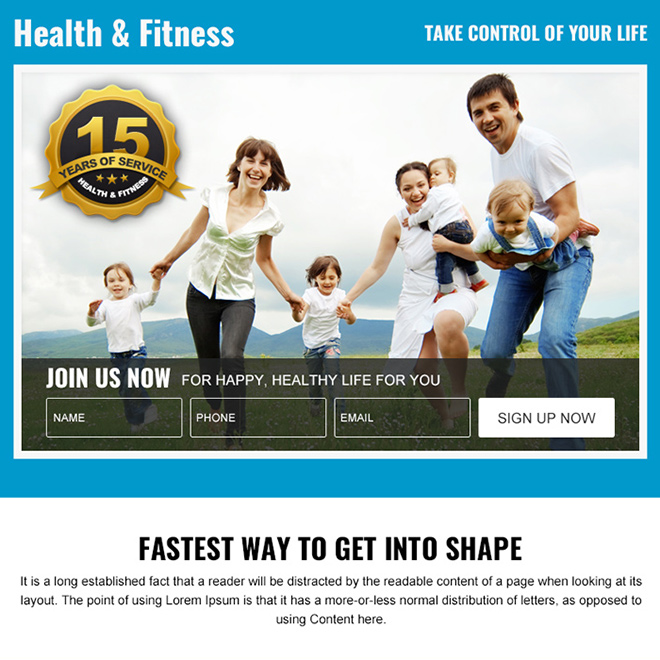 health and fitness sign up capturing PPV design Health and Fitness example