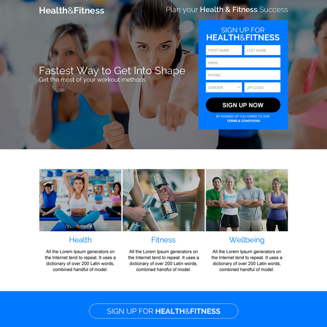 health and fitness sign up capturing responsive landing page Health and Fitness example