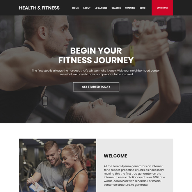 health and fitness training sign up capturing website design Health and Fitness example