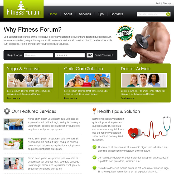 simple health and fitness website template design psd Website Template PSD example