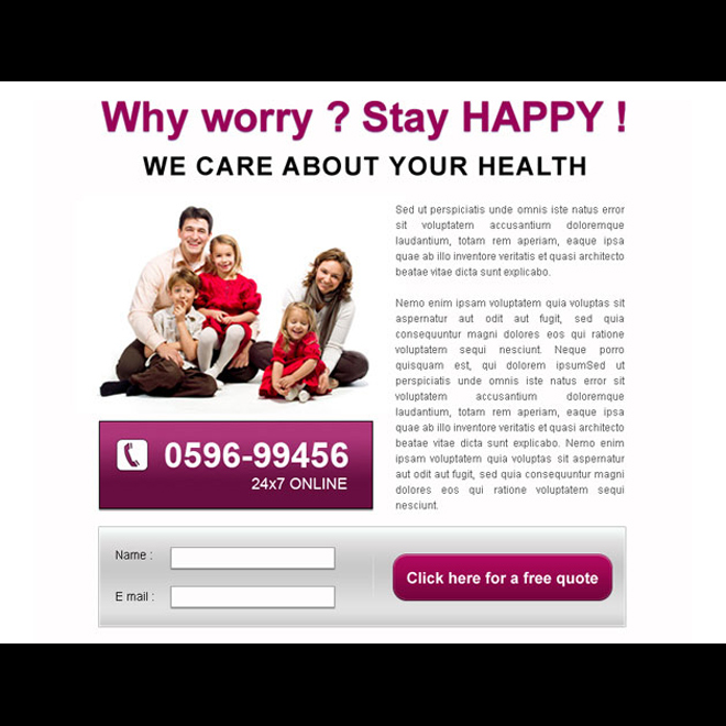 clean and converting lead capture ppv for health care services PPV Landing Page example