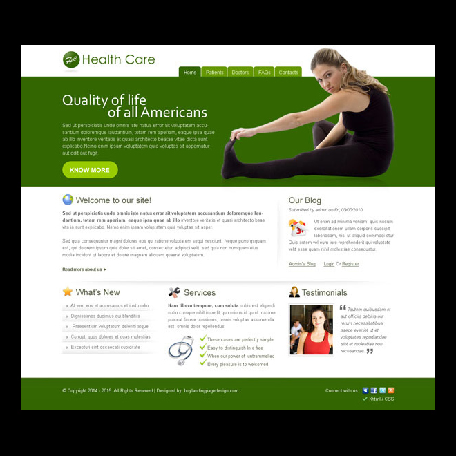health care america informative and professional website template design psd Website Template PSD example