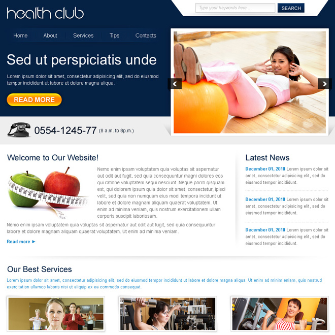 attractive health club website template design psd Website Template PSD example