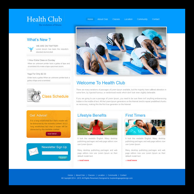 simple and clean health club website template design psd for creating your health club website Website Template PSD example