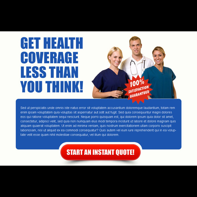 health coverage instant quote converting ppv landing page design template Health Insurance example