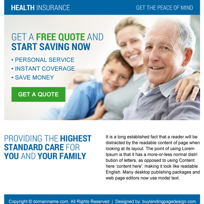 health insurance call to action ppv landing page Health Insurance example
