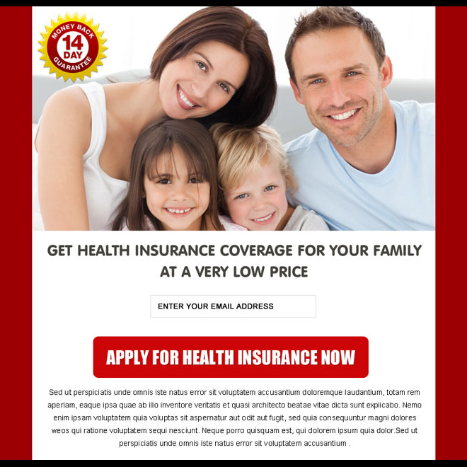 health insurance coverage for family clean and converting ppv landing page Health Insurance example