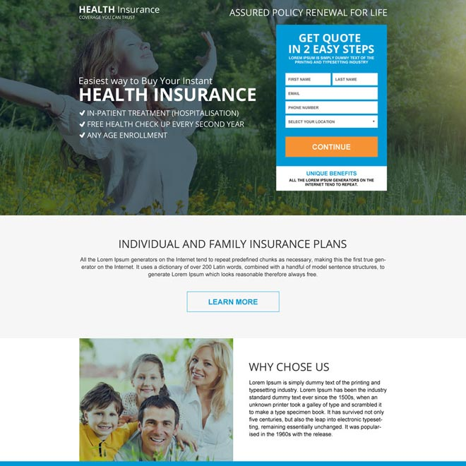 health insurance for family responsive landing page Health Insurance example