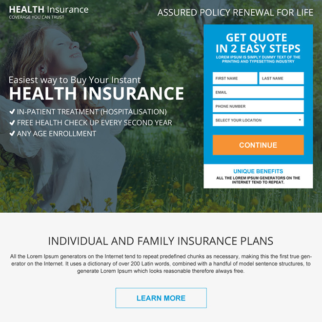 health insurance coverage benefit for full family landing page design Health Insurance example