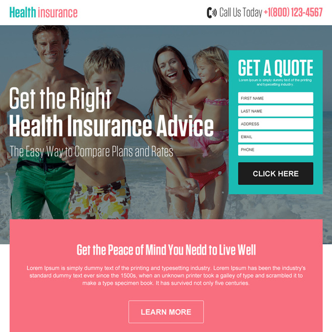 best health insurance quote advice responsive landing page Health Insurance example