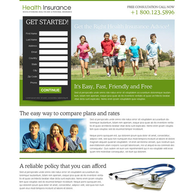 health insurance long lead capture effective squeeze page design Health Insurance example