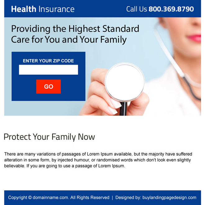 health insurance zip capturing ppv landing page Health Insurance example