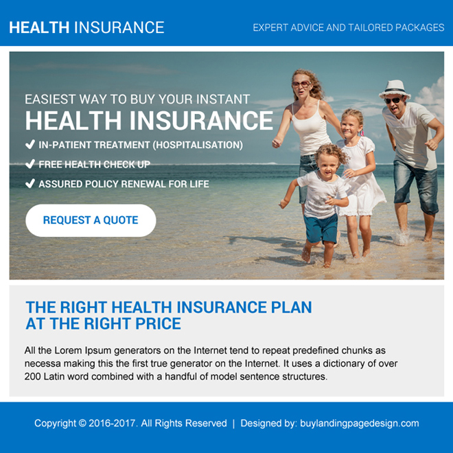health insurance plan free quote ppv landing page design Health Insurance example