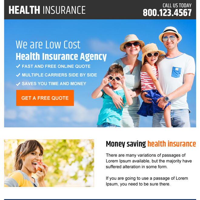 health insurance agency ppv landing page design Health Insurance example