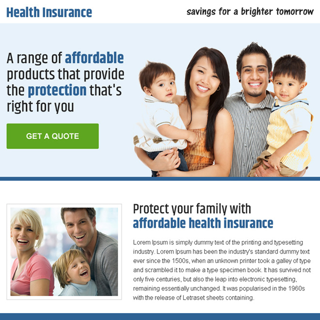 health insurance quality lead capturing ppv landing page Health Insurance example