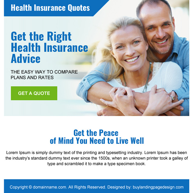 health insurance quotes ppv landing page design Health Insurance example