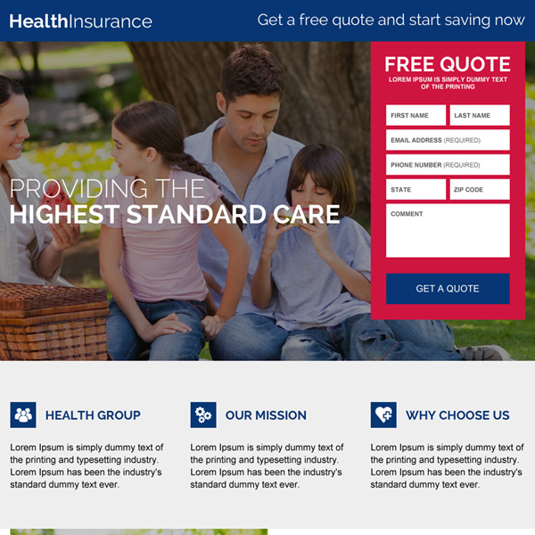 health insurance lead capturing best landing page design Health Insurance example
