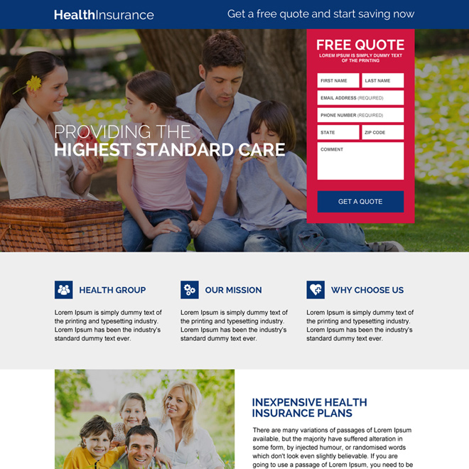 responsive health insurance free quote lead capturing landing page design Health Insurance example