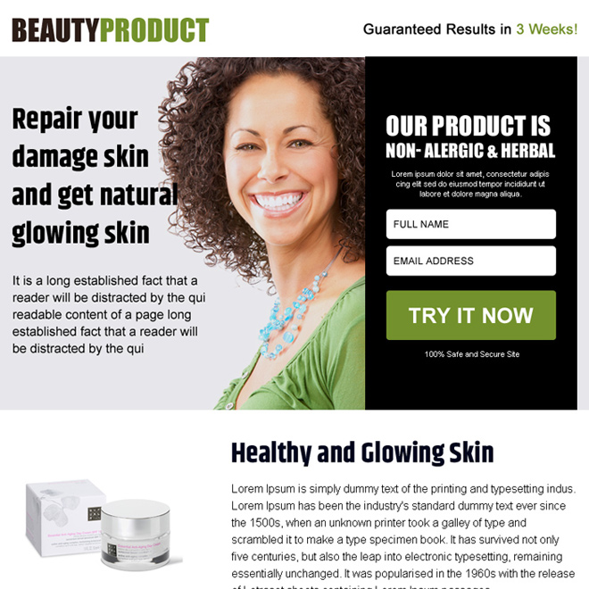 beauty product free trial lead capturing ppv landing page design Beauty Product example