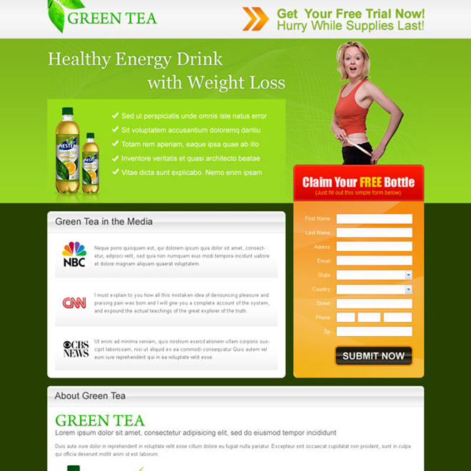 green tea healthy energy drink for weight loss landing page design for sale Landing Page Design example