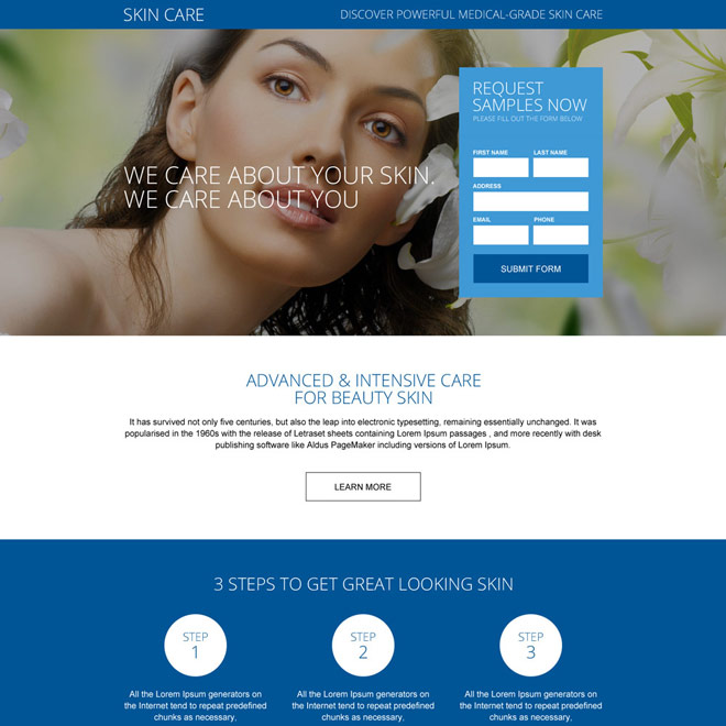 healthy skin care treatment landing page design Skin Care example