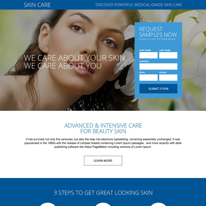 healthy skin care beauty treatment responsive landing page Skin Care example