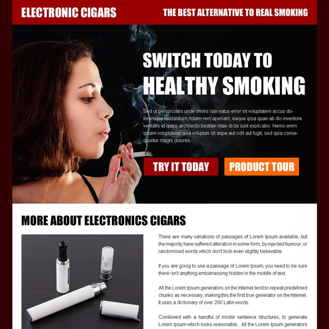 healthy smoking electronic cigar ppv landing page design E Cigarette example