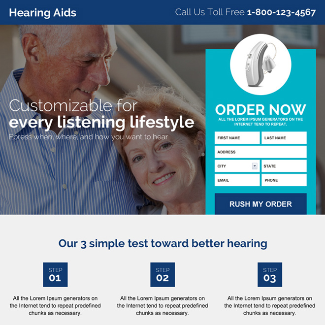 hearing aid device selling landing page design Hearing Solutions example