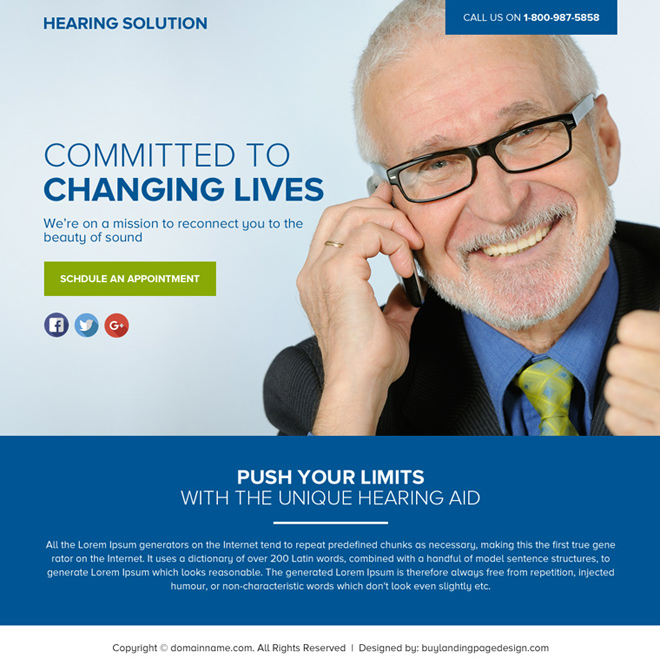 hearing solutions lead funnel landing page design Hearing Solutions example