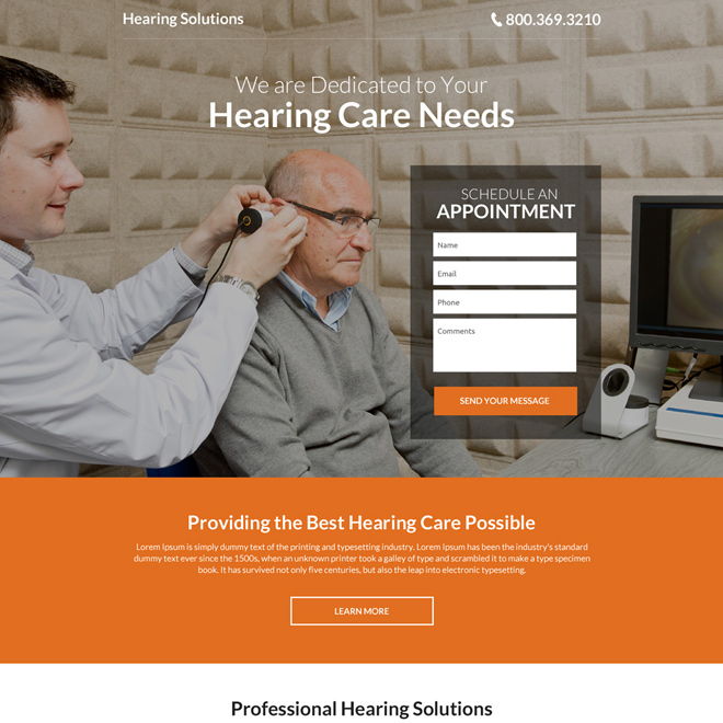 hearing solutions modern landing page design Hearing Solutions example